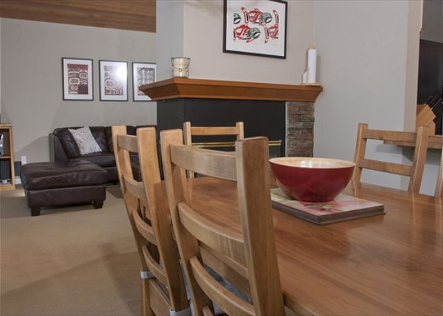 The dining table offers seating for 6-8 people.